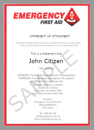 Emergency Certificate Sample